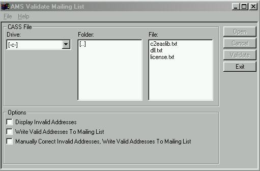 Validate Mailing List User Interface