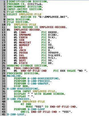 Structure of a COBOL Program